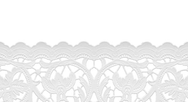 seamless edge lace doily/isolated on white This photographic image has a seamless repeatable edge that can be duplicated  in the horizontal direction as many times as necessary. The background is 255 white.http://www.garyalvis.com/images/officeSupplies.jpg lace textile stock pictures, royalty-free photos & images