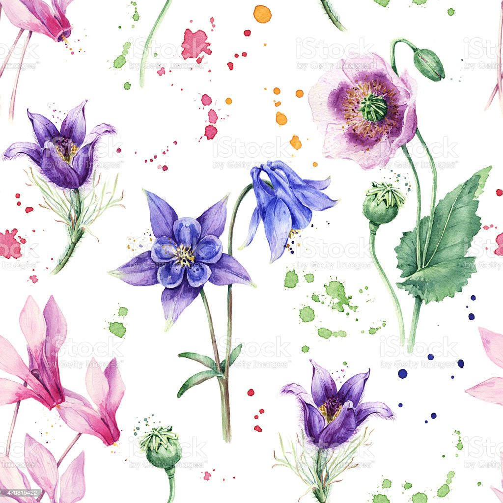 Seamless floral pattern with beautiful flowers, Watercolor painting stock photo