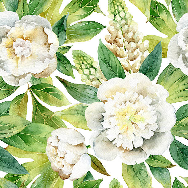 Seamless floral pattern with peonies stock photo
