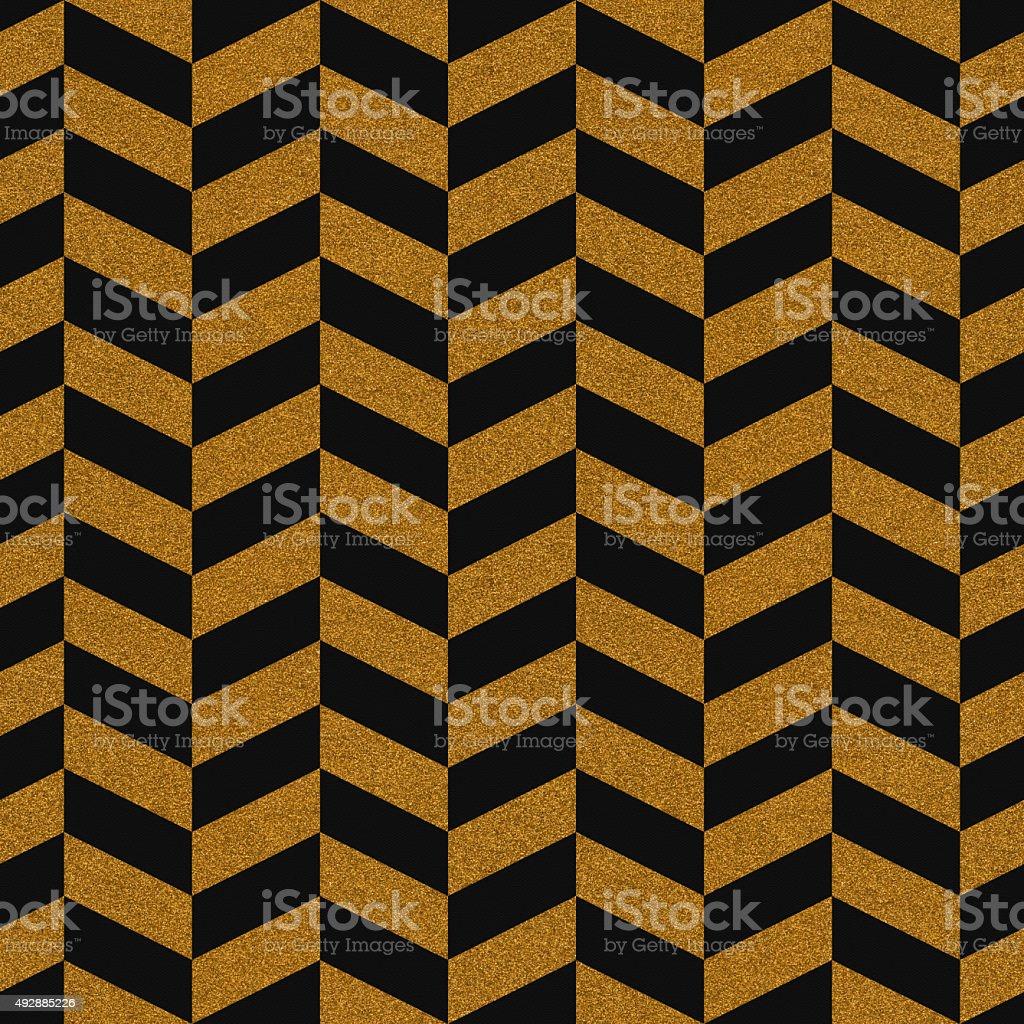 シームレスなゴールドのグリッターシェブロン模様のテクスチャード加工紙 ストックフォト