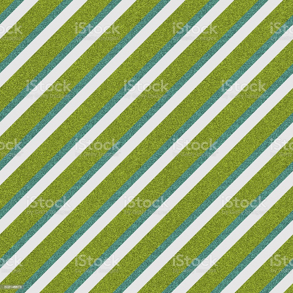 Seamless green and turquoise glitter stripes on white paper royalty-free stock photo