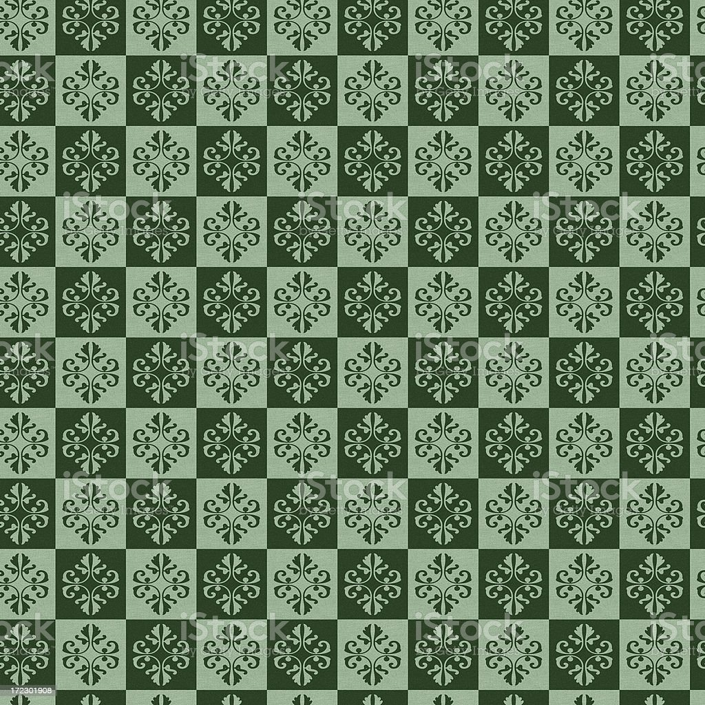 Seamless green retro wallpaper fabric design royalty-free stock photo