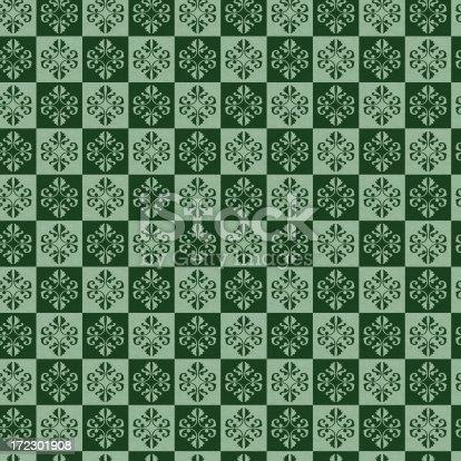 istock Seamless green retro wallpaper fabric design 172301908