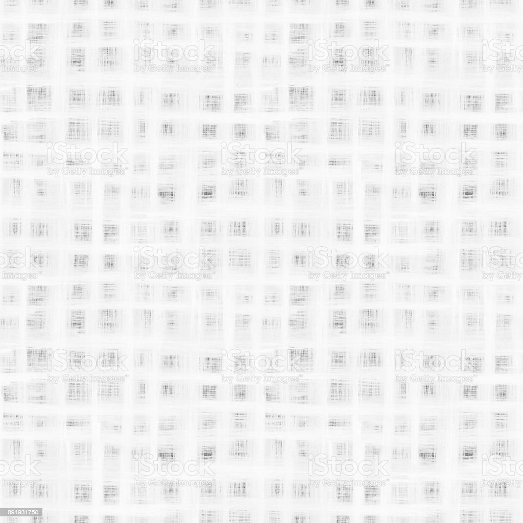 Seamless hand-painted uneven white checkered pattern on black background with visible thin lines stock photo