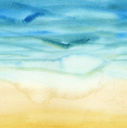 Seamless horizontal pattern of abstract watercolor gradient Sea and sand. The color splashing in the paper. Print for design of banner, textile, paper. Background with texture of beach