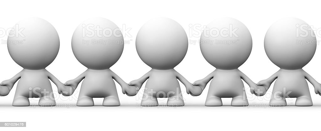seamless image of white human 3d characters holding hands stock photo