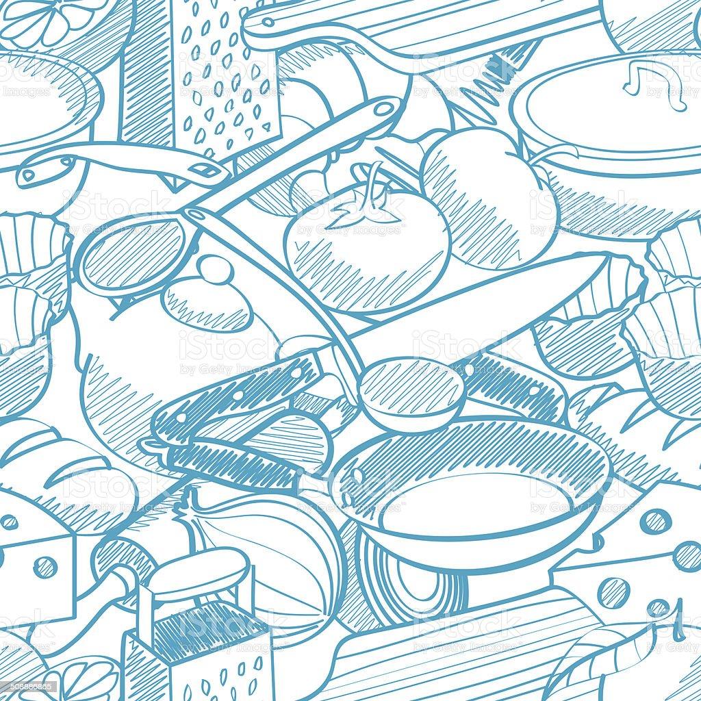 seamless kitchen stuff pattern stock photo