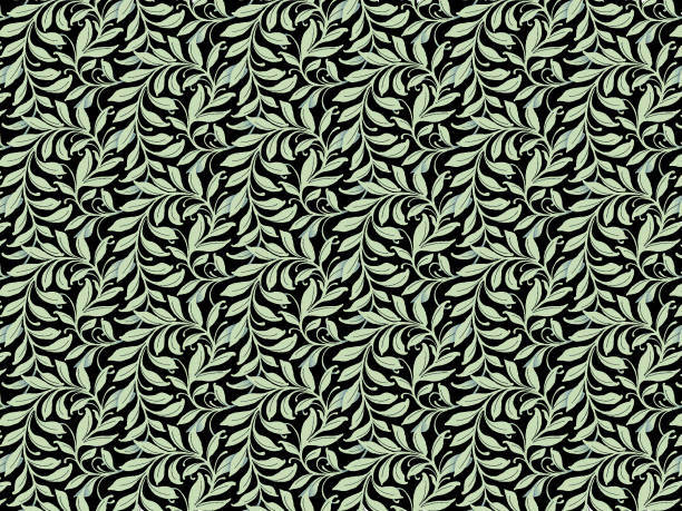 seamless leaf pattern - foliate pattern stock photos and pictures