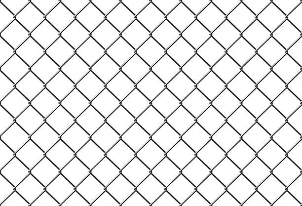 seamless metal mesh fence stock photo