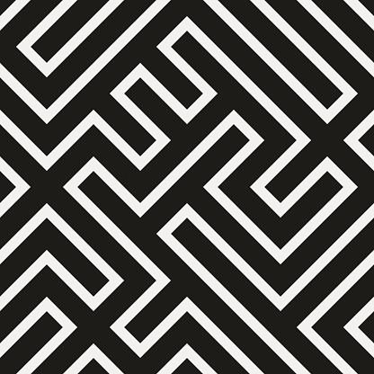 Seamless modern geometric black maze pattern on white textured paper
