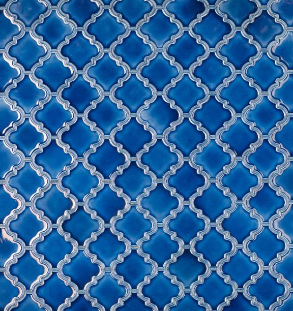 sans soudure mosaïque bleu motif arabe carrelé - damas en matière textile photos et images de collection
