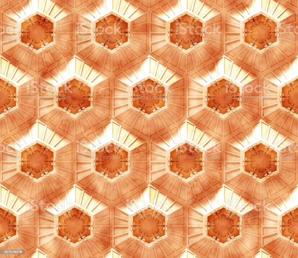 seamless orange tech background with hexagon based shapes with grunge (3d illustration) stock photo