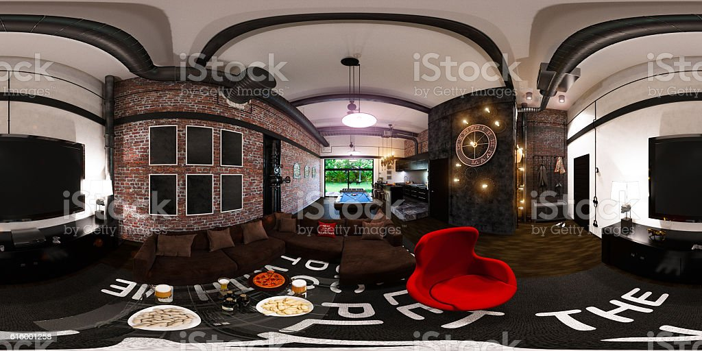seamless panorama of interior design in loft sty stock photo