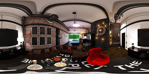 seamless panorama of interior design in loft sty stock photo