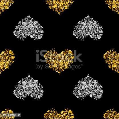 Seamless pattern golden and silver hearts made of flower petals isolated, black background, shiny metal heart shape repeating ornament, floral love print, vintage art wallpaper, baroque style backdrop