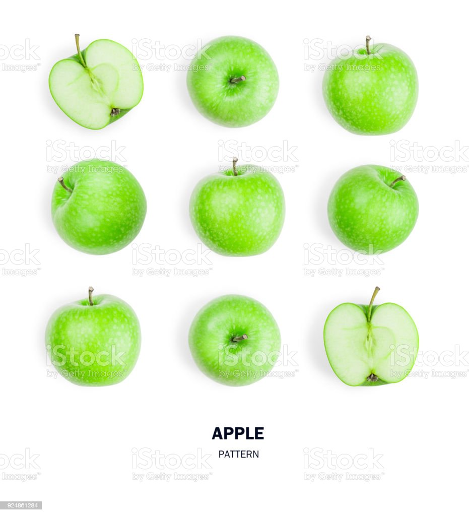 Seamless pattern green apple fruits. isolated on white background. stock photo