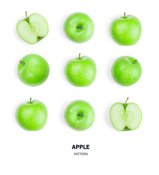seamless pattern green apple fruits. isolated on white background. - icon set healthy foto e immagini stock