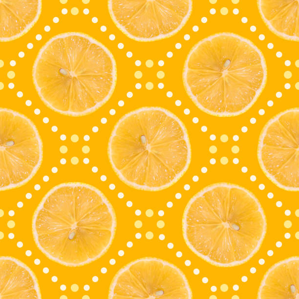 seamless pattern made of lemon slice isolated and dots on a yellow background. - dotted line stock photos and pictures