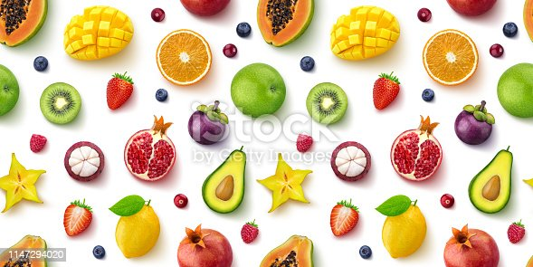 Seamless pattern of different fruits and berries, flat lay, top view, isolated on white background, tropical and exotic texture