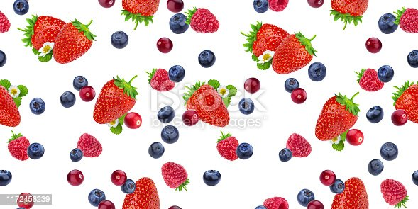 879258868 istock photo Seamless pattern of flying berries isolated on white background with clipping path, different falling wild berry fruits 1172456239