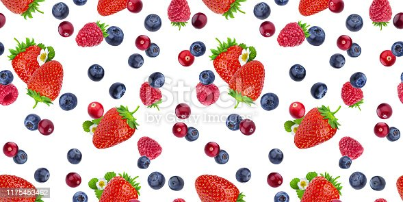 879258868 istock photo Seamless pattern of flying berries isolated on white background with clipping path, different falling wild berry fruits 1175453462