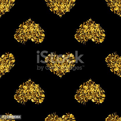 Seamless pattern of golden heart made of flower petals on black background isolated, gold shiny heart shaped repeating ornament, luxury wallpaper, love sign print, vintage design, decorative backdrop
