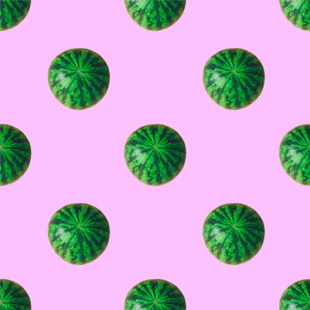 Seamless pattern of many green round watermelons with lines. Collage art. Vegetarian concept