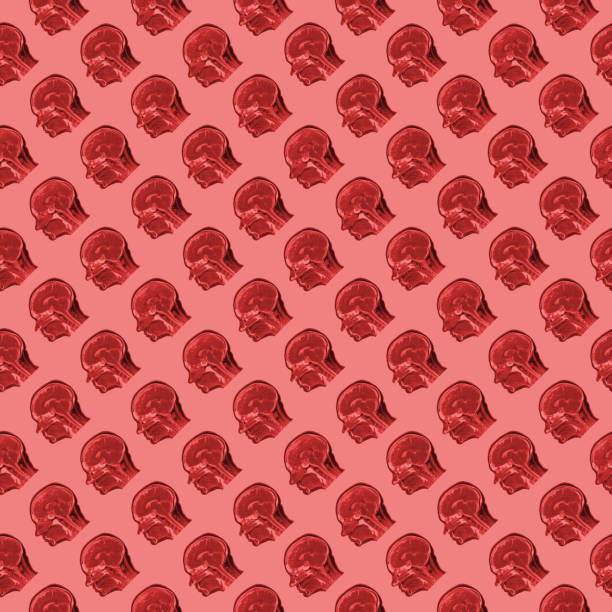 seamless pattern of sagittal MRI scans of sixty years old caucasian female head on pink background stock photo