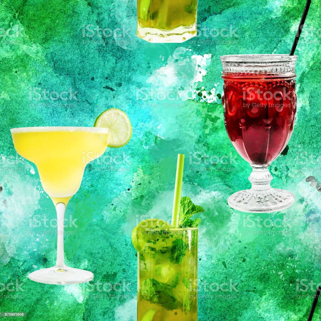 Seamless pattern of vibrant cocktails photos on blue green stock photo