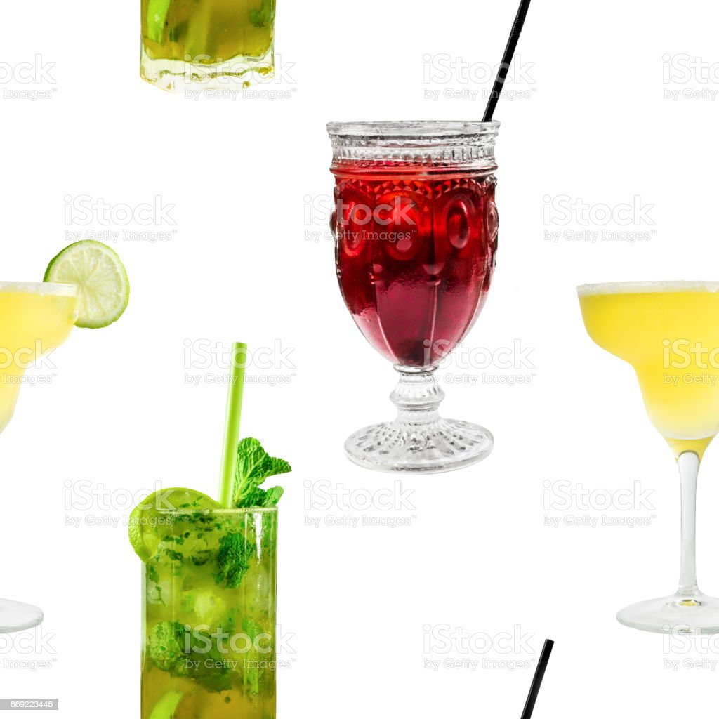 Seamless pattern of vibrant cocktails photos on white stock photo
