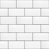 High resolution texture of white ceramic subway tiles laid in a running bond pattern with dark grout. This is a seamless pattern that can be tiled both horizontally and vertically. Useful for material libraries in 3D visualisation programs.