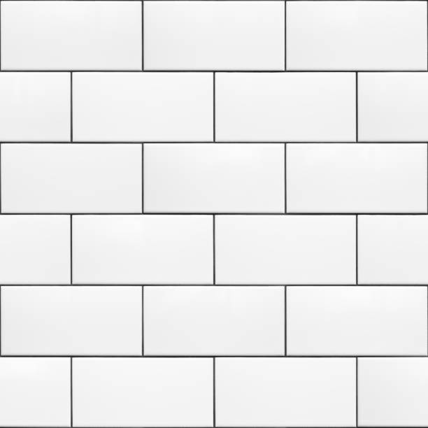 Seamless Pattern White 200 x 100 Ceramic Subway Tiles Running Bond High resolution texture of white ceramic subway tiles laid in a running bond pattern with dark grout. This is a seamless pattern that can be tiled both horizontally and vertically. Useful for material libraries in 3D visualisation programs. underground stock pictures, royalty-free photos & images