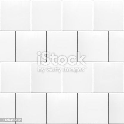 High resolution texture of white square ceramic subway tiles laid in a running bond pattern with dark grout. This is a seamless pattern that can be tiled both horizontally and vertically. Useful for material libraries in 3D visualisation programs.