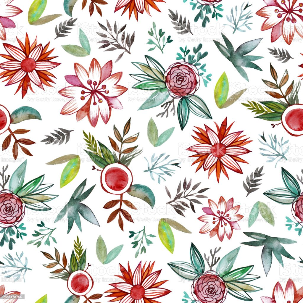 Seamless pattern with abstract watercolor flowers. stock photo