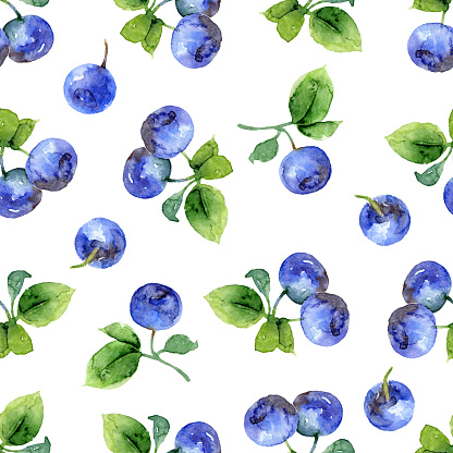 istock Seamless pattern with bilberry 592034664