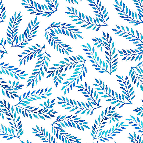 Seamless pattern with blue watercolor leaves. stock photo