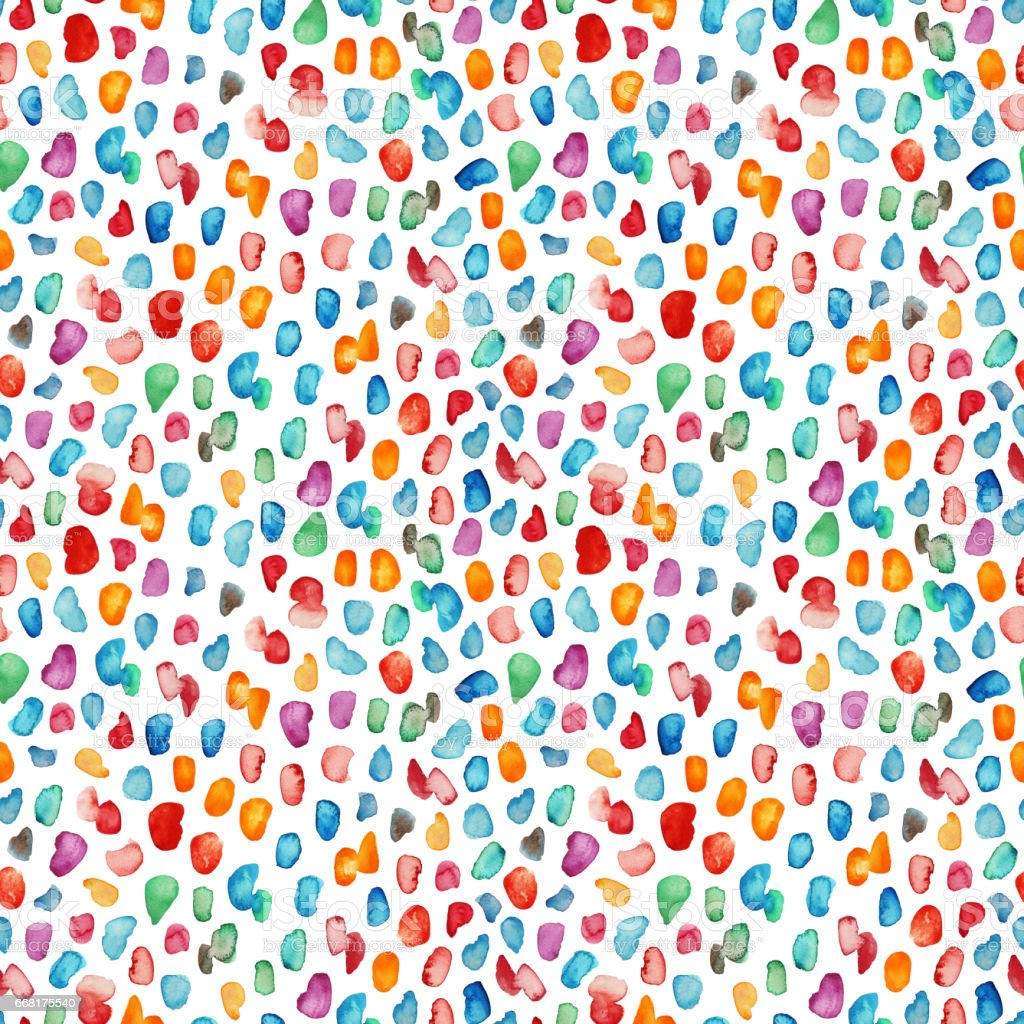 Seamless pattern with colorful watercolor drops. stock photo