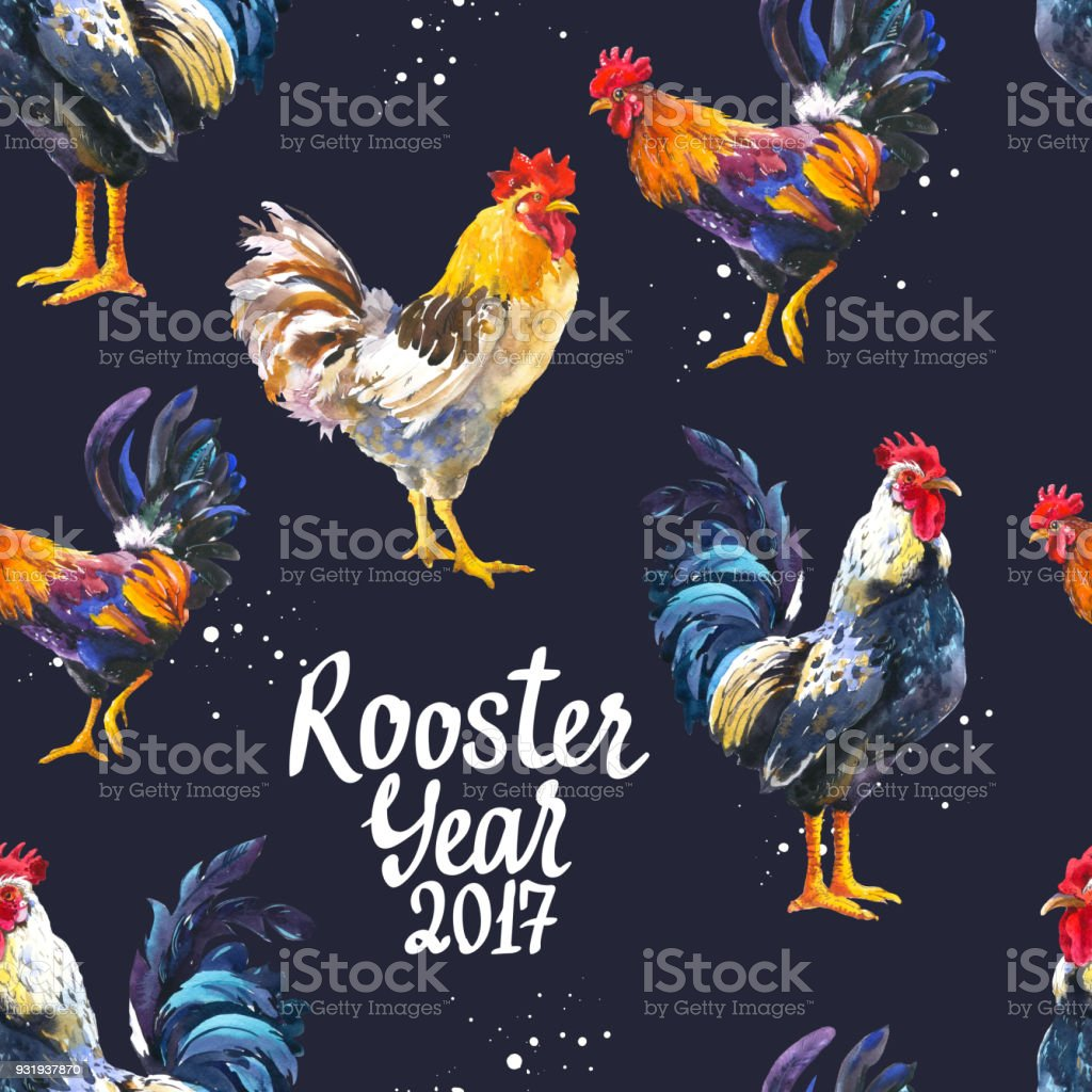 Seamless pattern with domestic bird in different poses. Sketch style. Realistic watercolor illustration of multicolor rooster on black background. 2017 Chinese New Year of the Cock stock photo