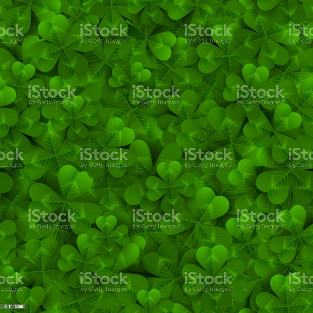 Seamless pattern with Four and Tree Leaf Clovers stock photo