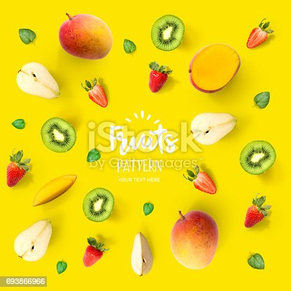 istock Seamless pattern with fruits. Tropical abstract background. 693866966