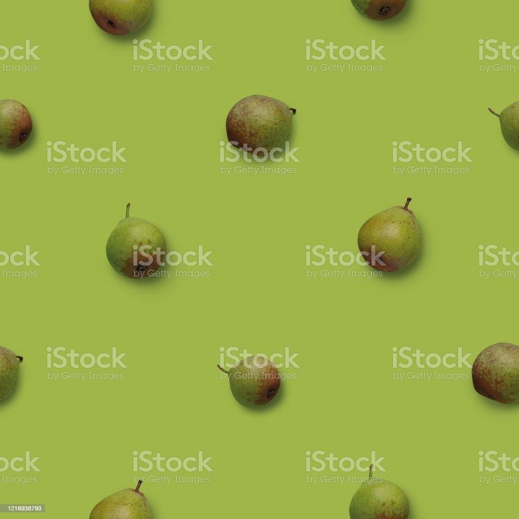 Seamless pattern with green pears photos on green background - Royalty-free Backgrounds Stock Photo