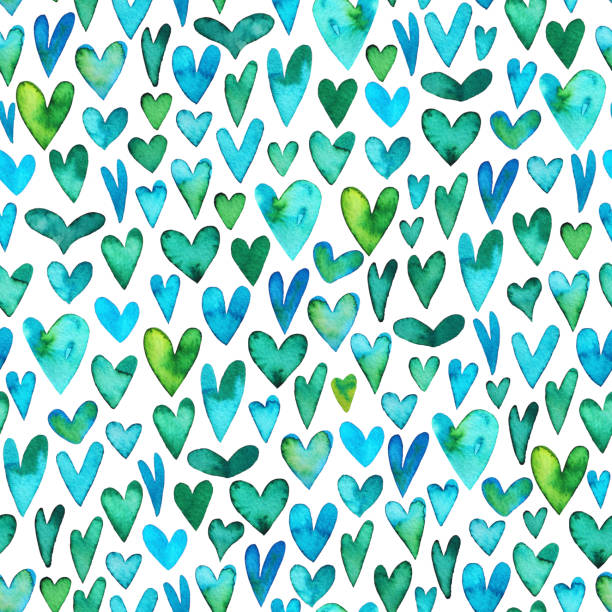 Seamless pattern with green watercolor hearts. stock photo