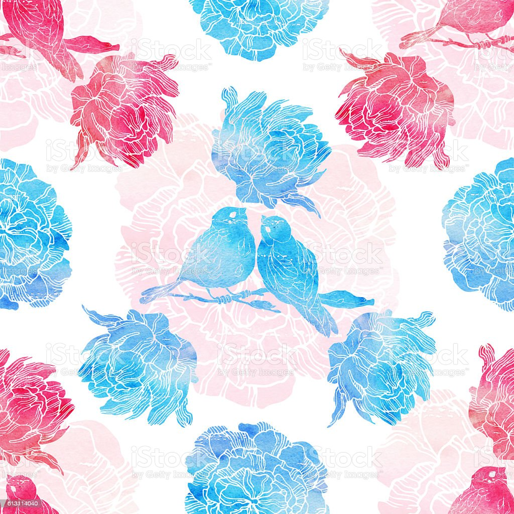 Seamless pattern with little birds and peonies stock photo