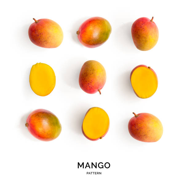 Seamless pattern with mango. Tropical abstract background. Manago on white background. mango stock pictures, royalty-free photos & images