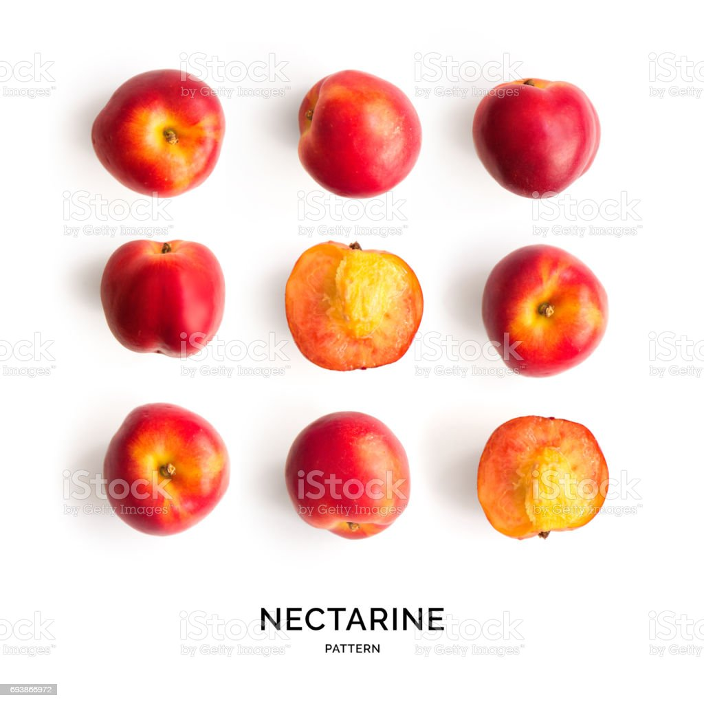 Seamless pattern with nectarine. Tropical abstract background. stock photo