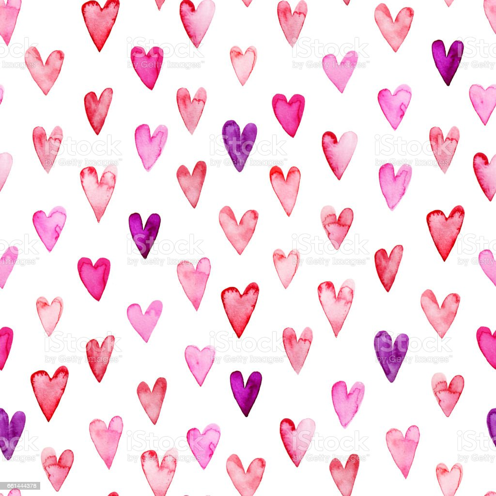 Seamless pattern with pink watercolor hearts. stock photo