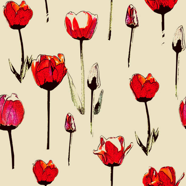 Seamless pattern with red tulips, vintage, grunge background stock photo