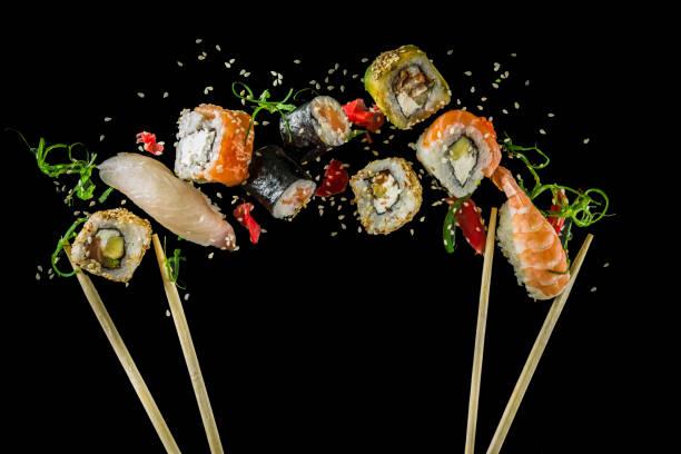 naadloos patroon met sushi - japanse gerechten stockfoto's en -beelden