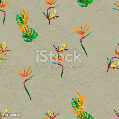 istock Seamless pattern With Tropical leaves. Watercolor Background 1130880490