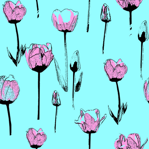 Seamless pattern with tulips, vintage, grunge background stock photo